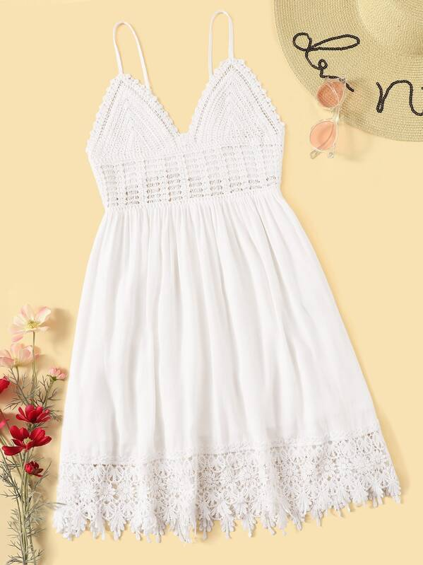 Tie Back Crochet Bodice Lace Hem Flare Slip Dress, null