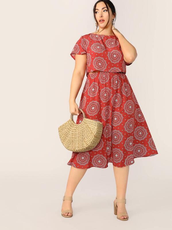 Plus Allover Print Top and Elastic Waist Skirt Set, Yumi