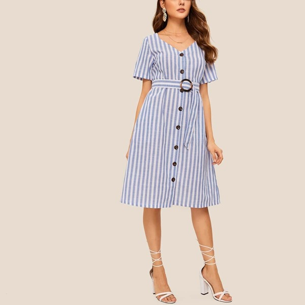 Striped Button Front Self Tie Dress