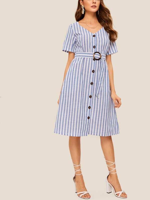 Striped Button Front Self Tie Dress, Blue, Barbara C