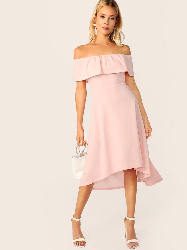 Solid Ruffle Trim Asymmetrical Hem Bardot Dress, Allie Leggett