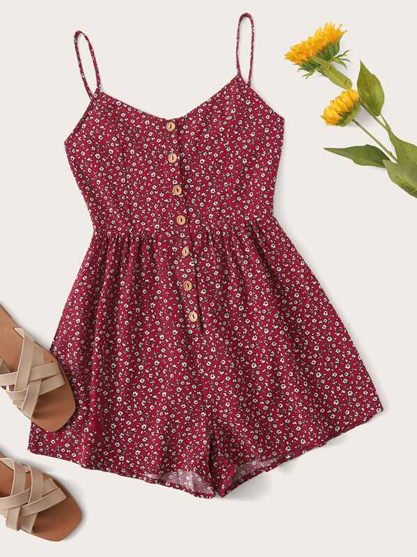 Ditsy Floral Button Front Cami Romper, Burgundy
