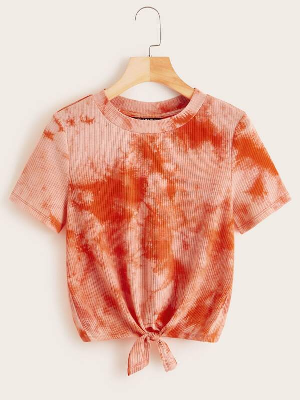 Knot Front Rib-knit Tie Dye Tee, null