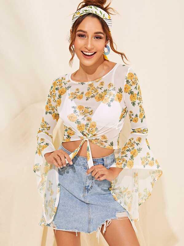 Tie Front Bell Sleeve Sheer Floral Print Crop Blouse, Gabi B