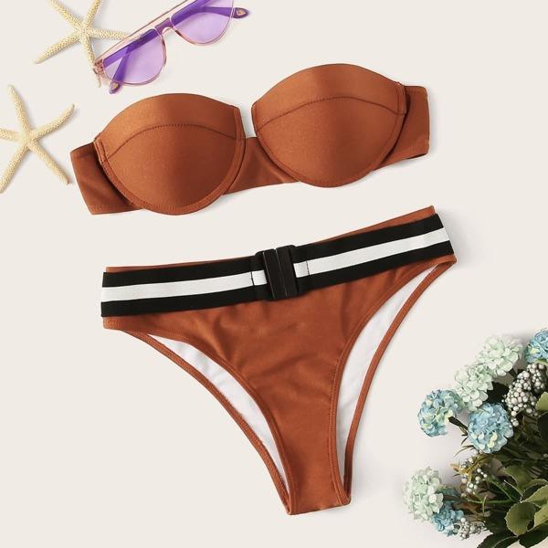 Underwired Top With Striped Buckle Panty Bikini
