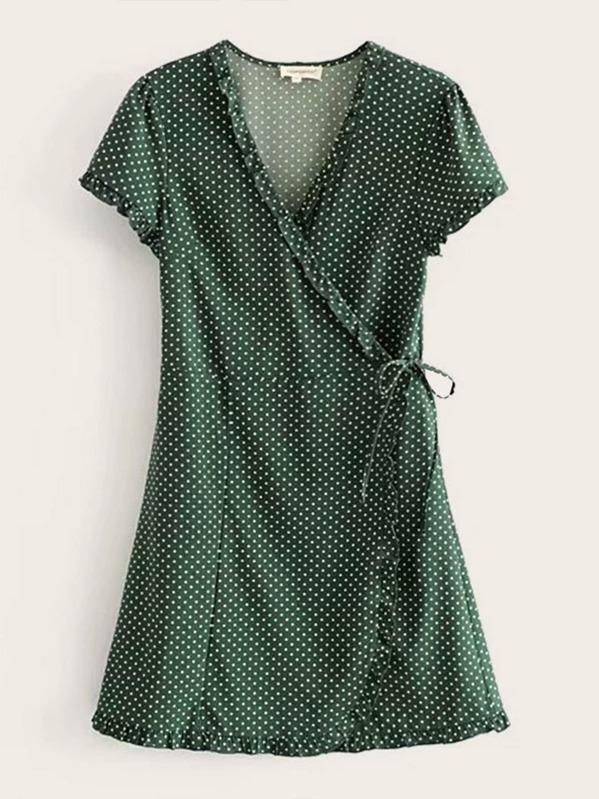 Polka Dot Knot Side Wrap Dress, null