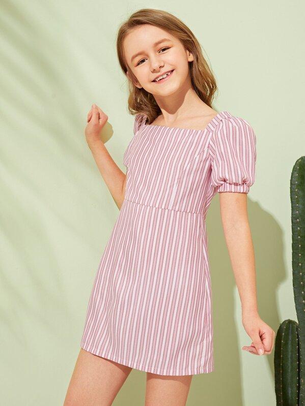 Girls Puff Sleeve Striped Dress, Pink, Sashab