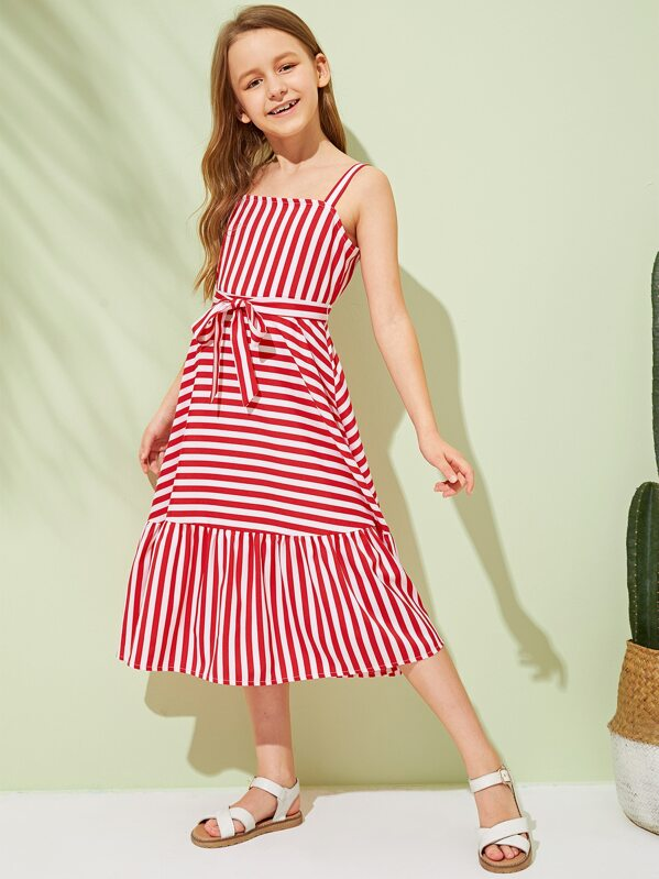 Girls Striped Zip Back Ruffle Hem Belted Dress, Sashab