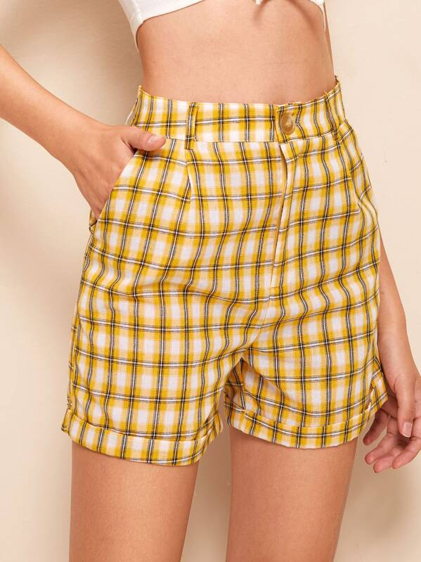 Button Front Rolled Cuff Plaid Shorts, Debora