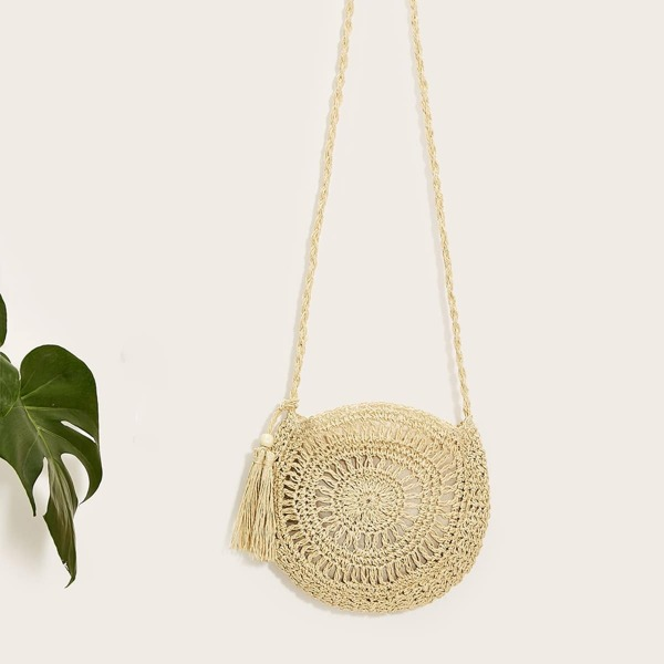 Tassel Detail Crochet Crossbody Bag