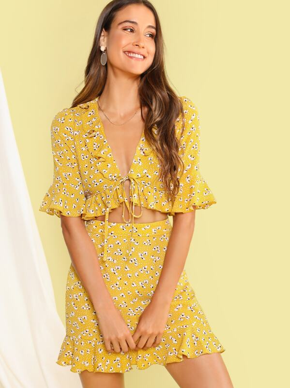 Ditsy Floral Ruffle Trim Knotted Top & Skirt Set, Anna Herrin