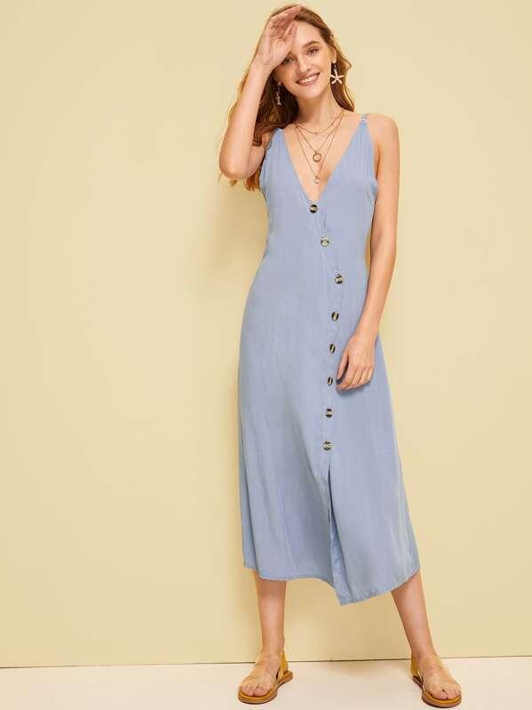 Shirred Button Front Slip Tea Dress, Sava