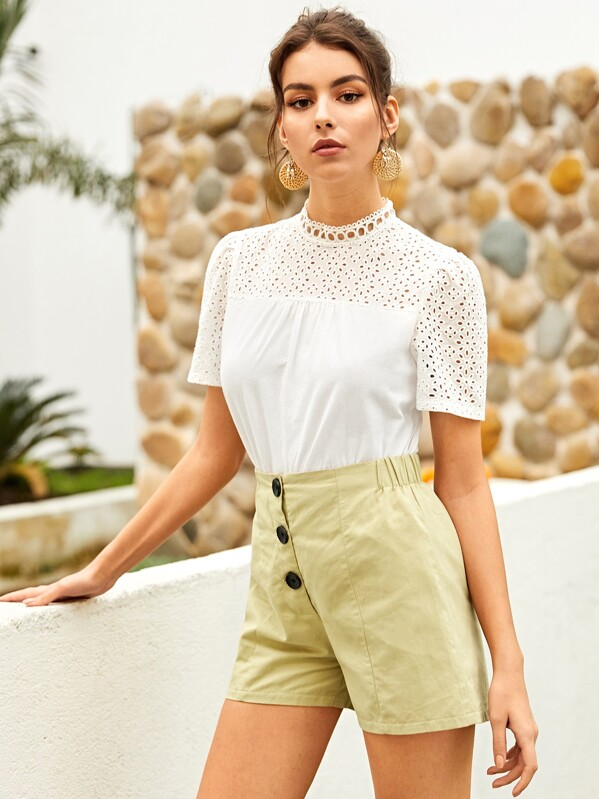 Solid Eyelet Embroidery Blouse, White, MARTINA