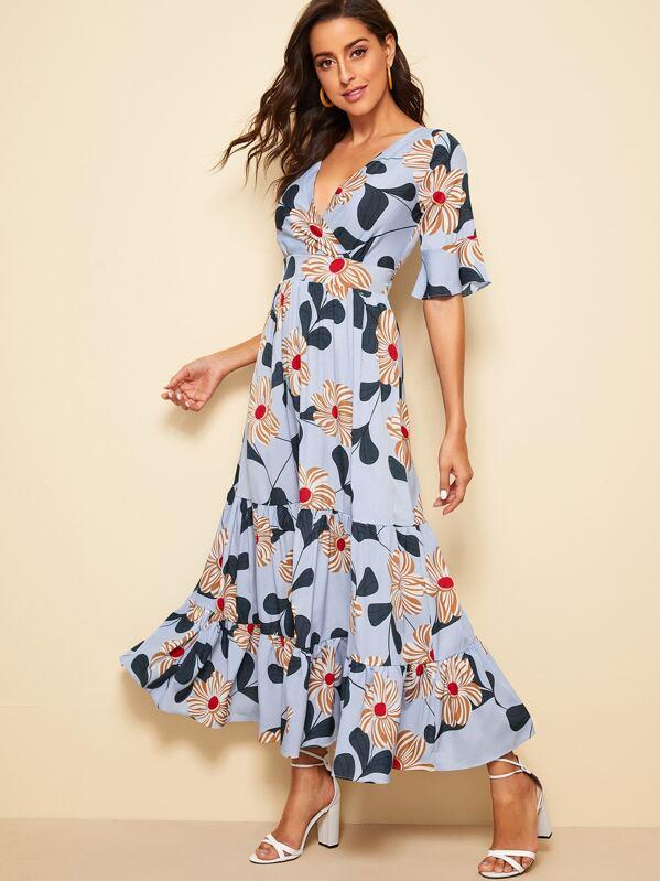 Floral print Ruffle Hem Flounce Sleeve Maxi Dress, Mary P.