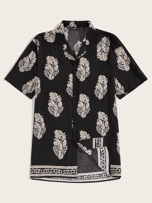 Men Revere Collar Leaf Print Shirt