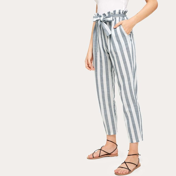 Vertical Striped Self Tie Paperbag Waist Pants, Multicolor