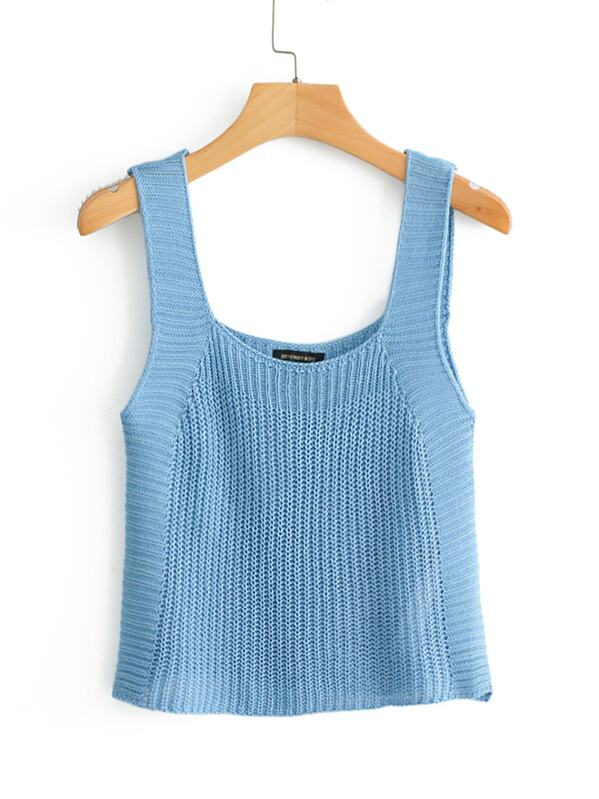 Knit Solid Cami Sweater, null