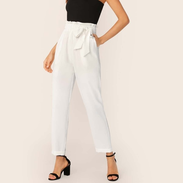 Paperbag Waist Bow Tie Side Pants, White
