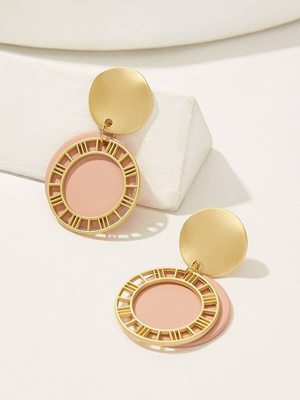 Hollow Detail Double Layered Disc Drop Earrings 1pair, null