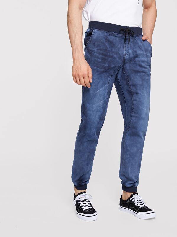 Men Contrast Trim Drawstring Waist Wash Jeans, Roni Maion