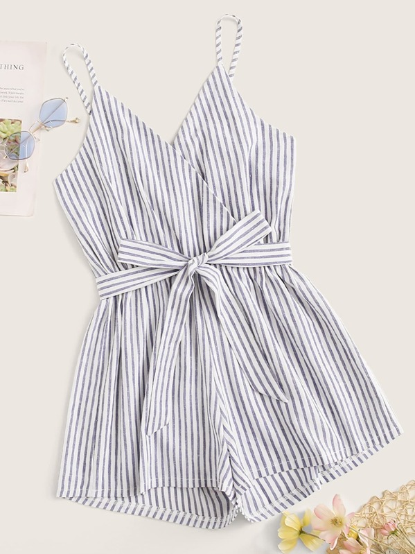 Surplice Striped Belted Cami Playsuit, Blue