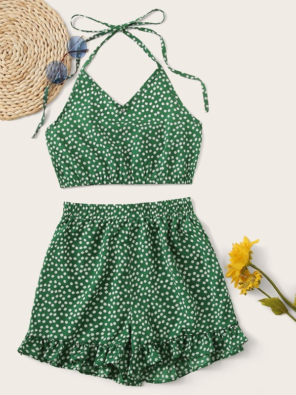 Ditsy Floral Halter Top With Ruffle Hem Shorts, Green