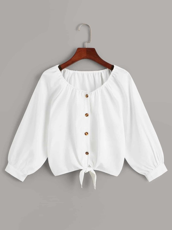 Solid Button Front Knot Hem Blouse, null