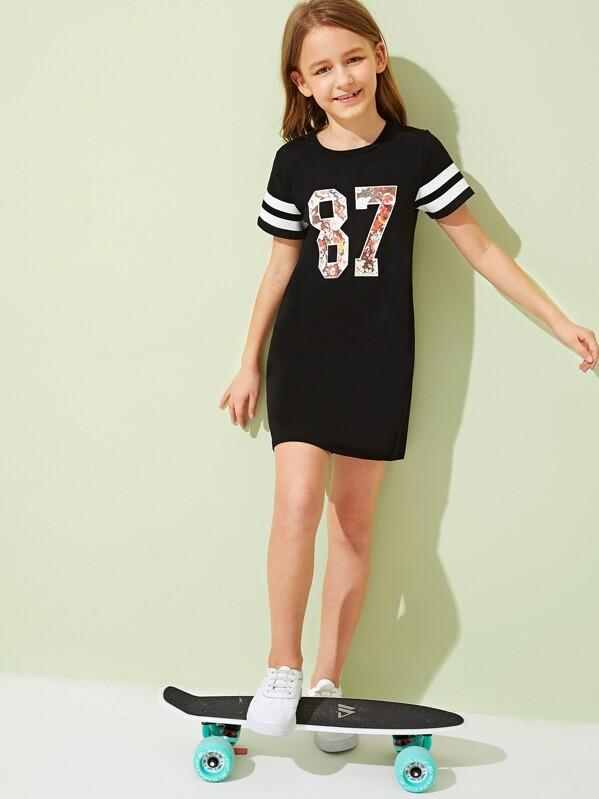 Girls Striped & Floral Number Print Tee Dress, Black, Sashab