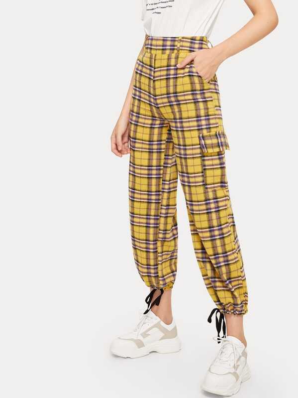 Plaid Print Pocket Detail Pants, Larissa