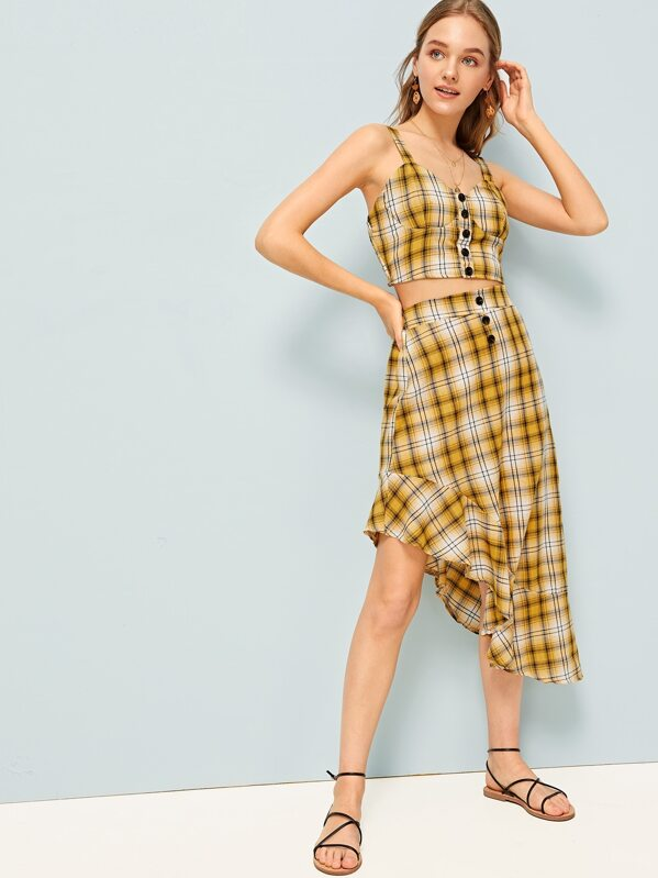 Plaid Print Cami Top With Skirt, Sava