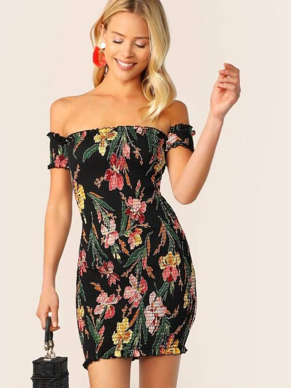 Floral Print Frill Trim Shirred Bodycon Bardot Dress, Multicolor, Allie Leggett