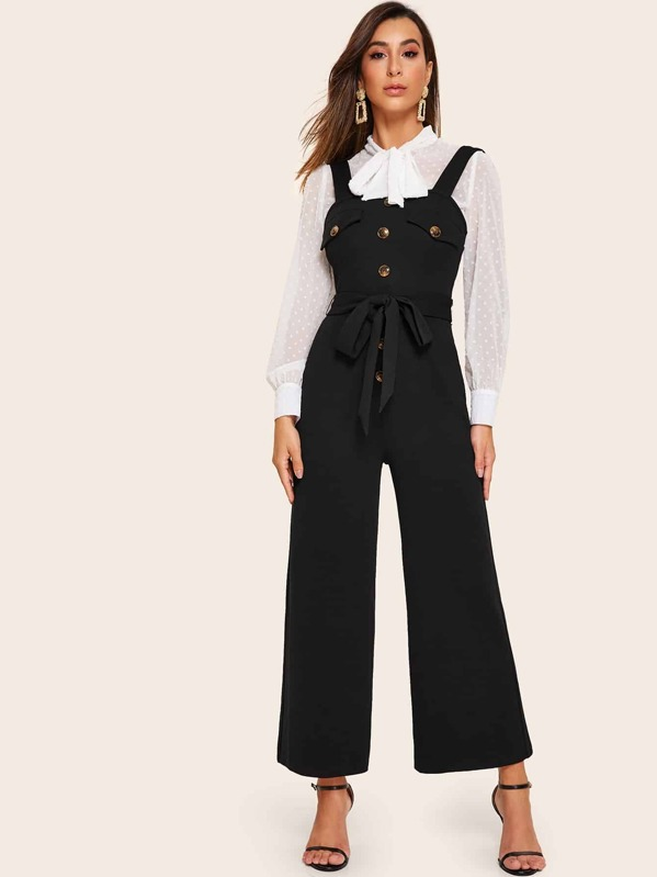 Button Front Wide Leg Belted Thick Strap Jumpsuit, Gabe