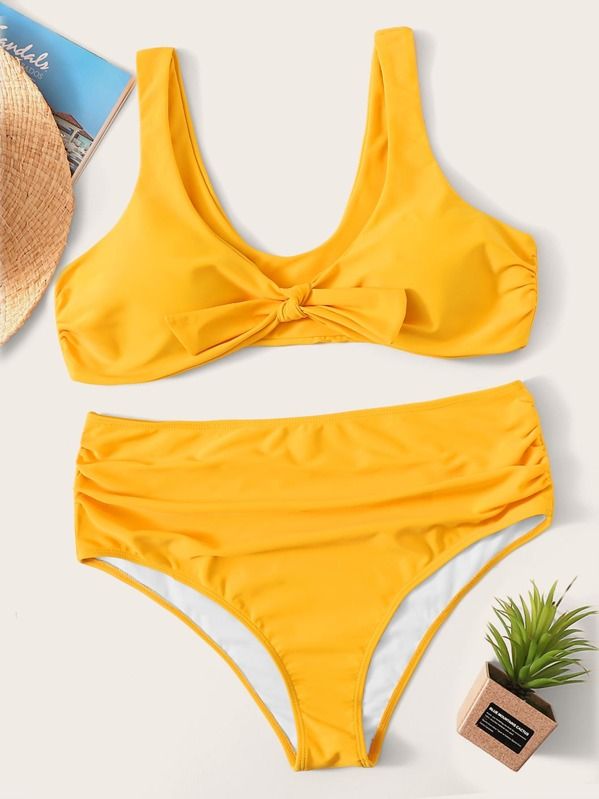 Plus Knot Front Top With High Waist Bikini, Yellow