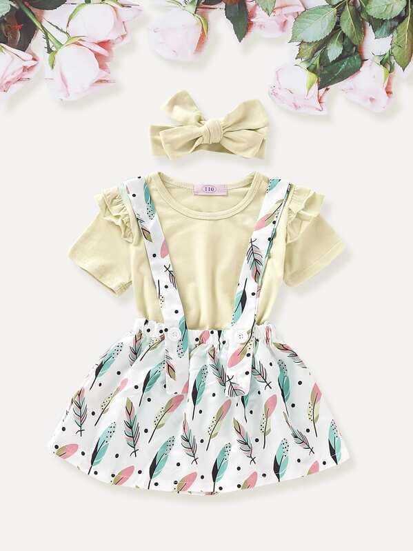 Toddler Girls Frill Tee & Feather Print Pinafore Skirt & Headband, null