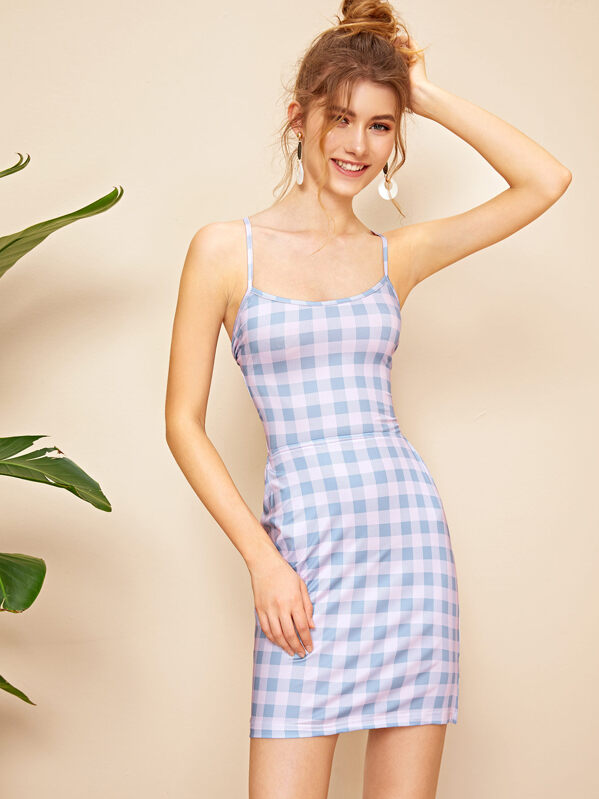 Lace Up Backless Gingham Bodycon Slip Dress, Lera C