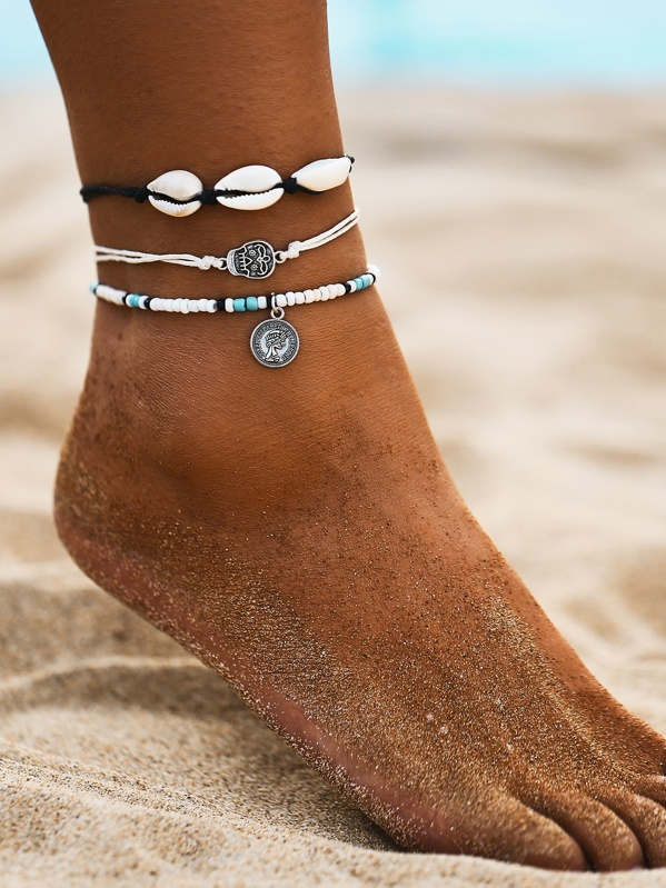 Shell & Skull Charm Anklet 3pcs, Multicolor