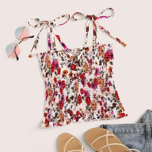 Ditsy Floral Print Shirred Cami Top
