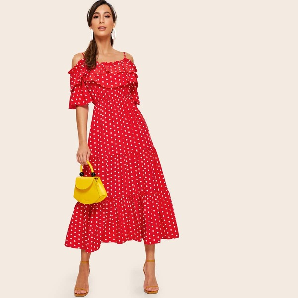 Polka Dot Cold Shoulder Ruffle Trim Dress