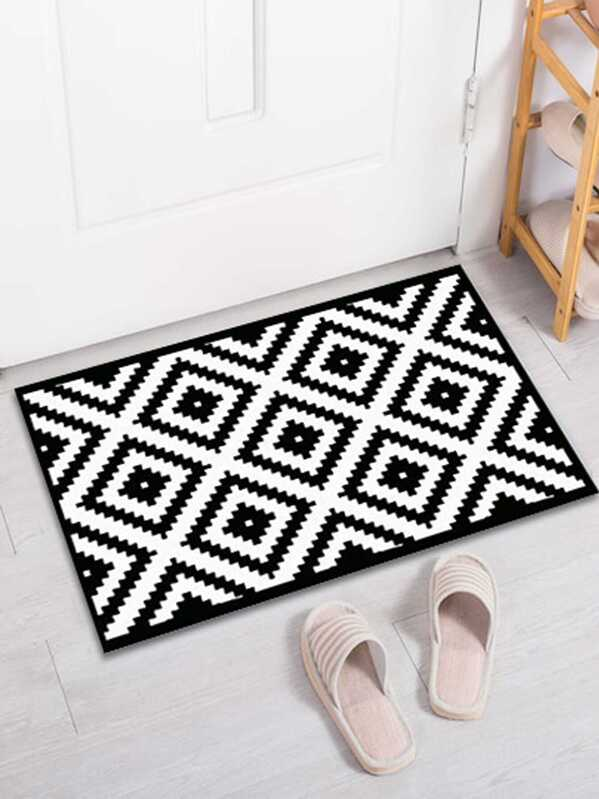 Geometric Pattern Print Floor Mat