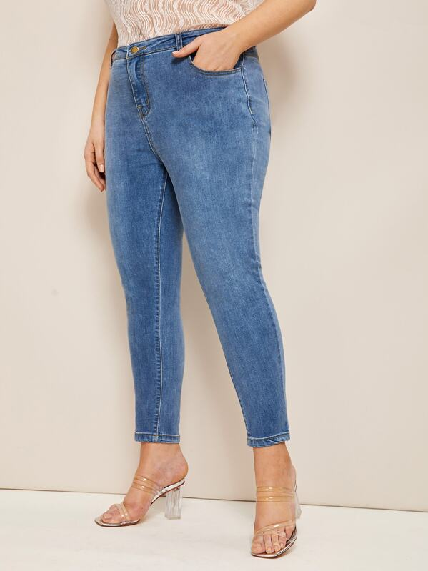 Plus Washed Faded Skinny Jeans, Blue, Nora