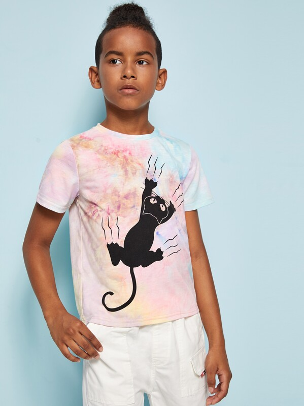 Boys Cat Print Tie Dye T-shirt, Glauber