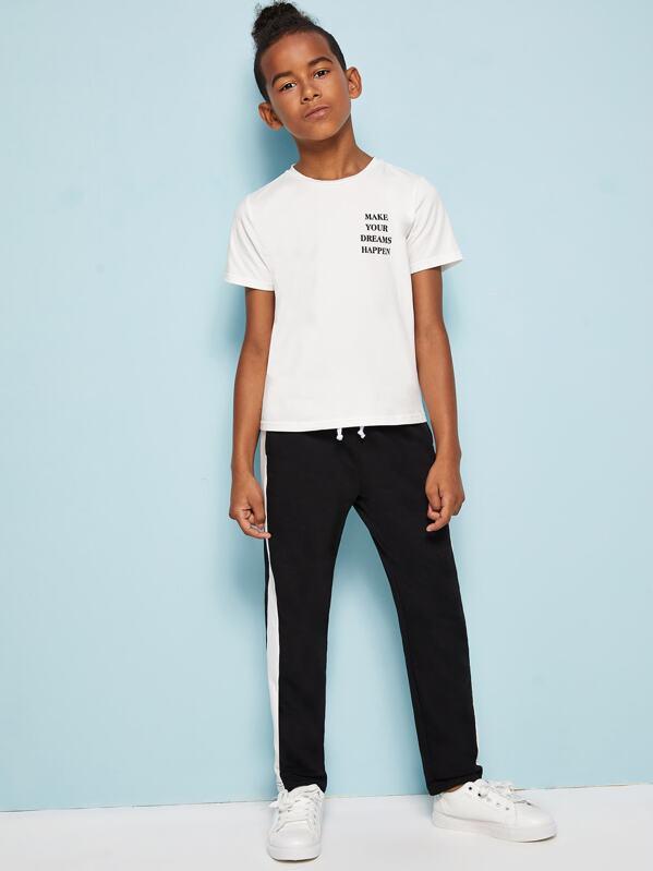 Boys Slogan Print Tee and Contrast Sideseam Pants Set, Glauber