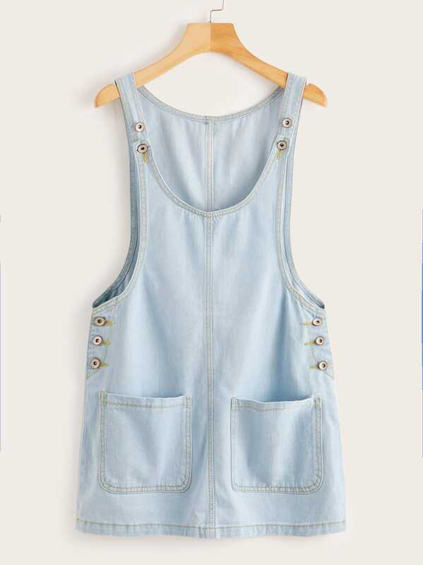 Pocket Front Denim Overall Dress