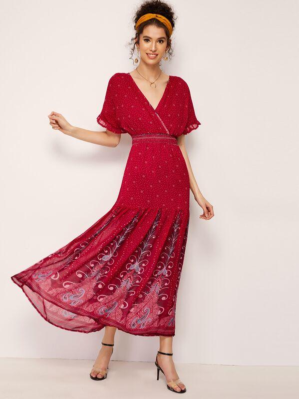 Dot Print Surplice Neck Flippy Hem Maxi Dress, Burgundy, Megan