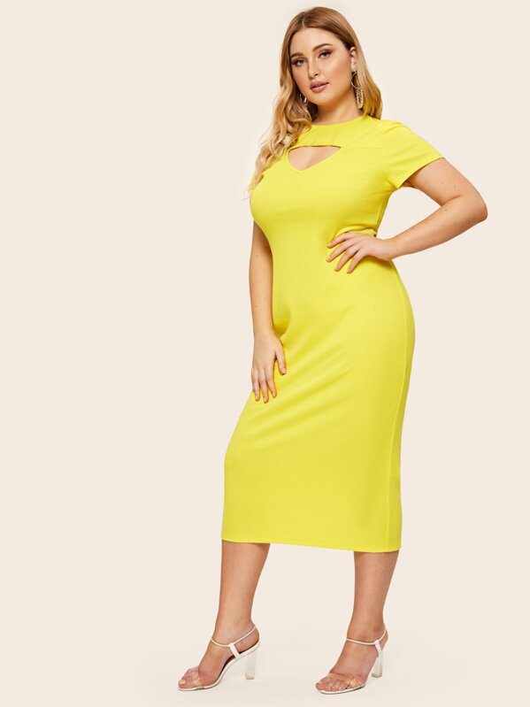 Plus Neon Yellow Cutout Front Ribbed Pencil Dress, Nora