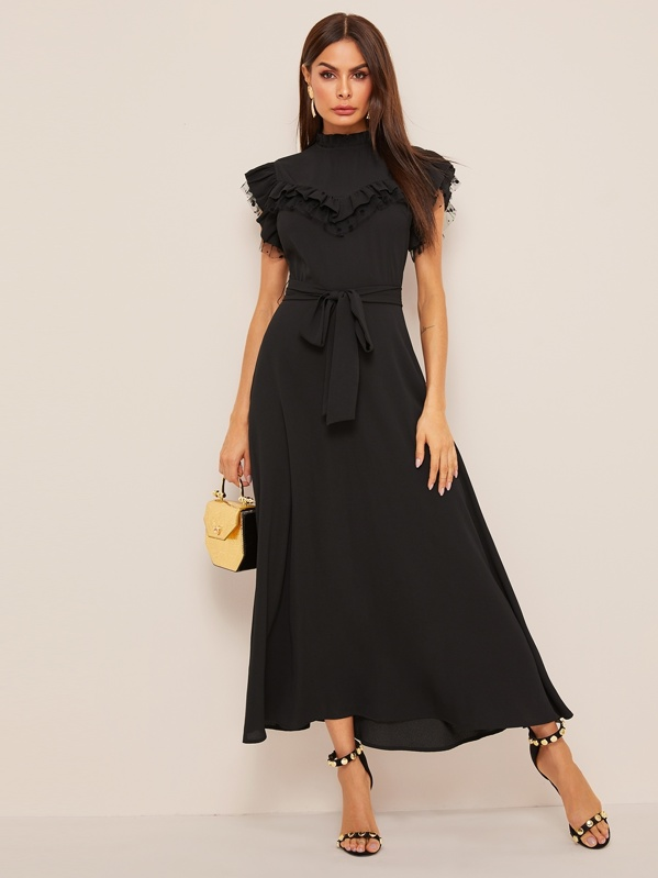 Layered Ruffle Detail Belted Fit & Flare Dress, Black, Andy