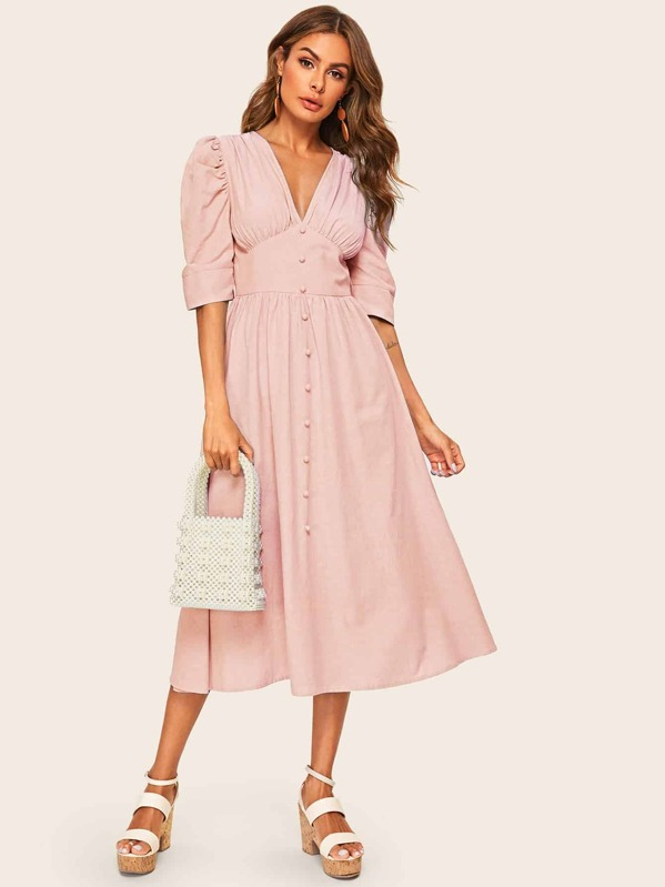 Button Front Puff Sleeve O-ring Belted High Waist Dress, Pink, Andy