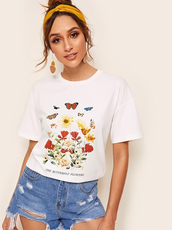 Drop Shoulder Floral Tee, Gabi B
