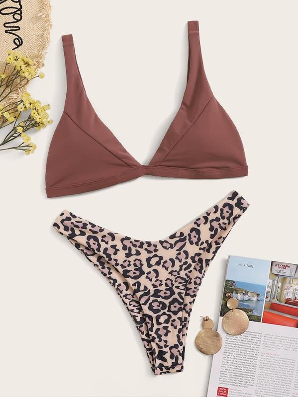 Triangle Top With Leopard Print High Leg Bikini