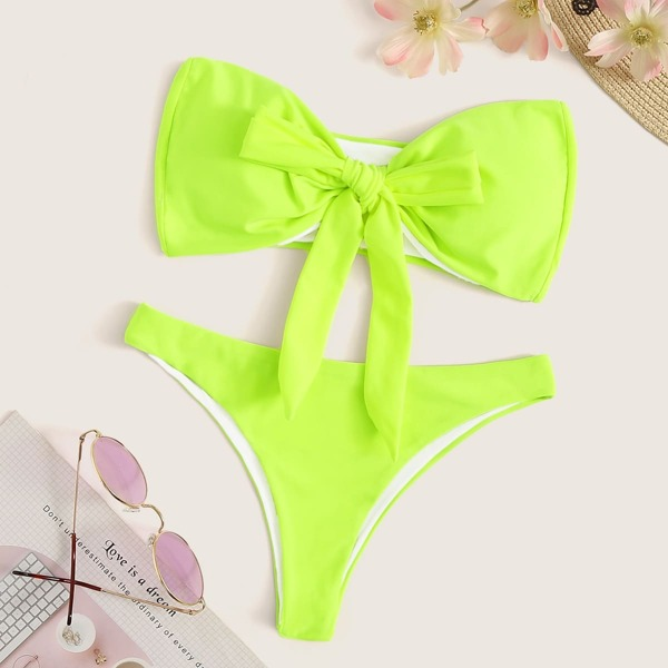 Neon Lime Tie Front Bandeau With Hipster Bikini